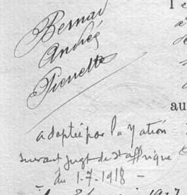 BERNAT Andrée naissance St Aff 1906 détail 2